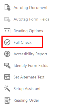 Full check option from Accessibility tools selected.