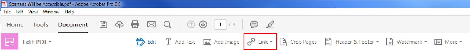 Top home toolbar under Document tab. Drop down menu from Link section/icon