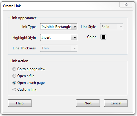 Create link window with Link Type set as Invisible. Highlight Style set as Invert.