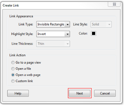 Create link window. Next button highlighted.
