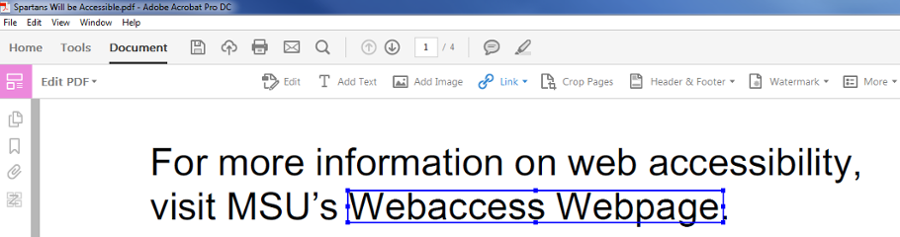 Top home toolbar under Document tab. Highlighted text from doc displaying Webaccess Web page.