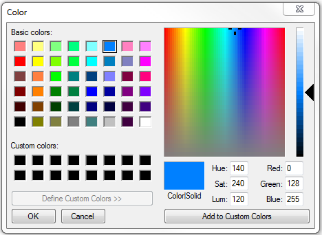 Color window with option to drag arrow over customized color.