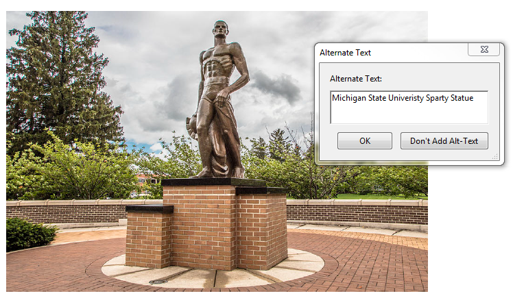 Alternative text window. Alternative text box with example text displaying Michigan State University Sparty Statue.