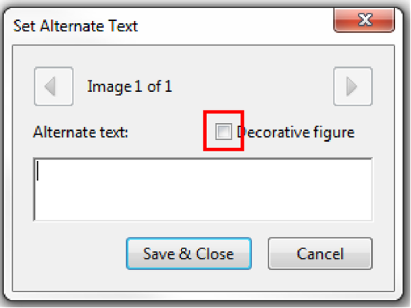 Set Alternate Text. Decorative figure check box highlighted.