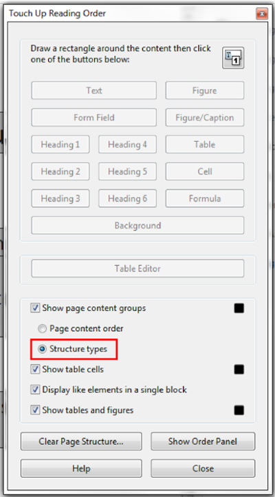 Touch up Reading Order window. Structure types box clicked.