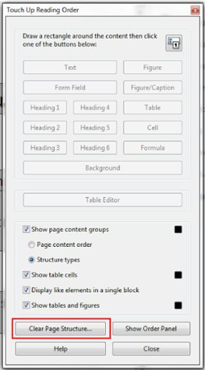 Touch up Reading Order window. Clear Page Structure button at the bottom of window selected.