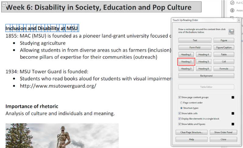 Text displaying Inclusion and Disability at MSU highlighted. Set as Heading 2.