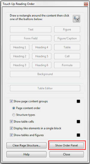 Touch Up Reading Order window. Show Order Panel button selected at bottom of window.