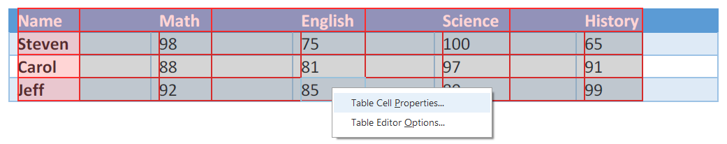 Drop down menu from right clicking on Table. Table cell properties option selected.