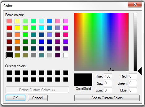 Color window with custom color options.