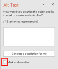 Alt Text side bar. Mark as decorative check box at bottom highlighted.