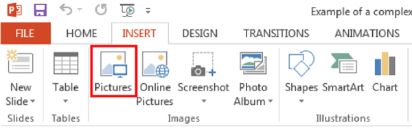 Top home ribbon in Microsoft power point. Insert tab. Picture icon selected from Images section.