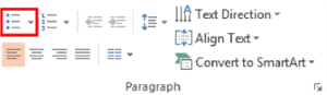 Top home ribbon in Microsoft PowerPoint. List option highlighted from Paragraph section.