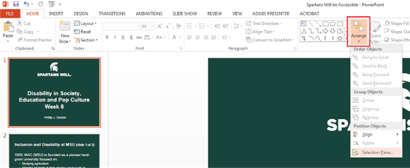 Top home ribbon in Microsoft power point. Home tab. Arrange icon selected. Drop down menu from Arrange with Selection Pane selected.
