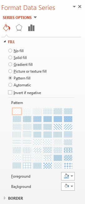 Menu from Paint Icon. Pattern fill selected.