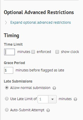 Screenshot of the Optional Advanced Restrictions menu to change time limit for quizzes.