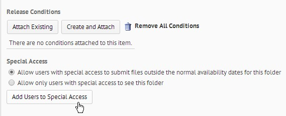 Screenshot showing the Add Users to Special Access button located at the bottom of the Edit Dropbox Restrictions tab.