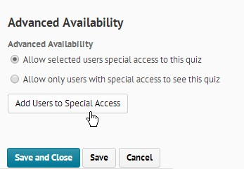 Screenshot of the Advanced Availability section located at the bottom of the Restrictions tab. The first option, Allow selected users special access is enabled. Add Users to Special Access is located below this option.