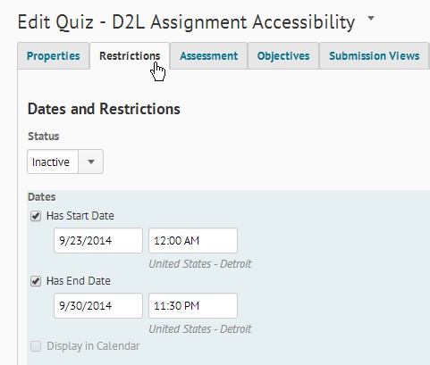 Screenshot showing the Restrictions tab of the Edit Quiz page selected.