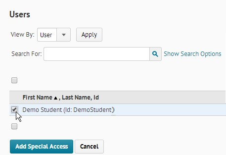 Screenshot of the Users section at the bottom of the Special Access page is shown. A checkbox to the left of a demo student is selected, indicating special access conditions will be applied to them.