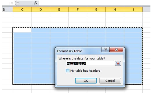 The Format as Table menu box. A data range is selected and the checkbox next to My table has headers is hovered over. Select this checkbox and then hit OK to add headers.