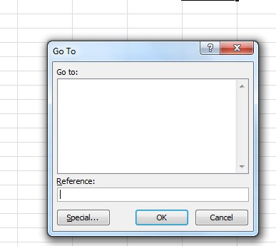 The dialog box that opens up upon hitting CTRL + G. This box will list off the section names and allow users to quickly jump to them. In this image, there are no section names listed.