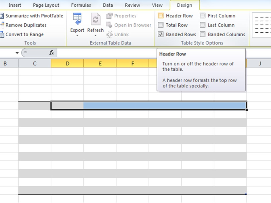 The Header Row option is in Design tab in the top navigation. To open the Design tab select anywhere in a table. Check this box to define the top row as a header row.