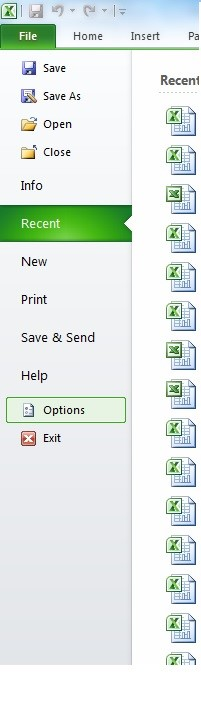 The Options menu under the File tab in the top navigation.