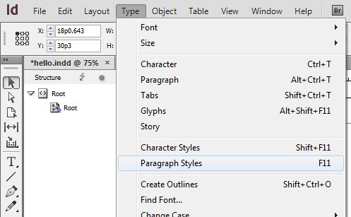 Screenshot of Type drop down menu. Paragraph Styles, halfway down this menu, is currently highlighted.