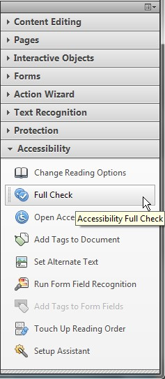 Screenshot of Acrobats tool panel with the Accessibility tab selected. Full Check is highlighted as the second item on this list.