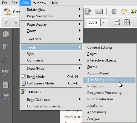 Screenshot of Acrobat's View menu open. The Tools option is expanded and Text Recognition is highlighted in this menu.
