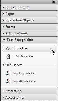 Screenshot of Tool panel at the right side of Acrobat. The Text Recognition tab is open. The first item under this panel, In This File, is highlighted.