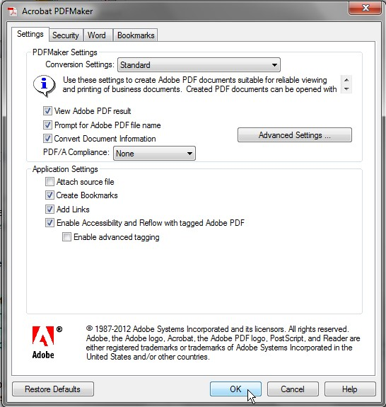 Screenshot of Acrobat PDFMaker dialog box. Create Bookmarks, Add Links, and Enable Accessibility and Reflow with tagged Adobe PDF are located halfway down the dialog box and are all selected.