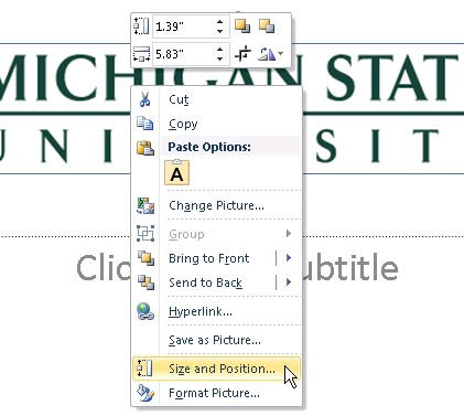 Screenshot of right-click menu of an image. Size and position is highlighted at the bottom.