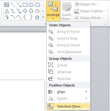 Screenshot of the Arrange drop down menu is located in the top ribbon. Selection Panel is highlighted at the bottom of this drop down menu.