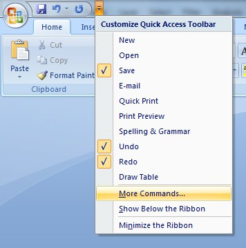 Screenshot of the drop-down menu located to the right of the undo/redo buttons is expanded. More Commands is located near the bottom of this drop-down menu.