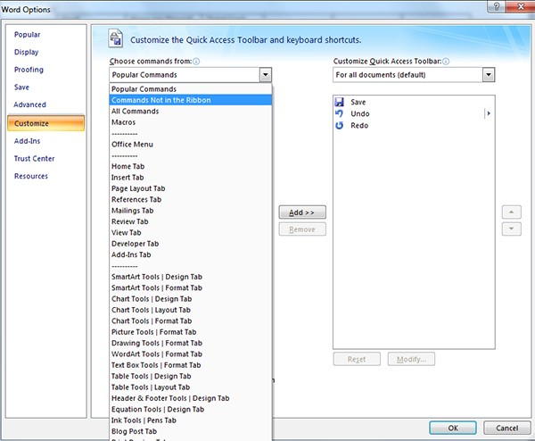 Screenshot of the Word Options dialog box with the Customize tab on the left menu selected. The first drop down menu, Choose commands from, is expanded. Commands Not in the Ribbon is located at the top of this menu.