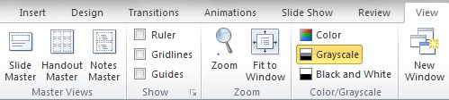 "Screenshot of ""View"" ribbon. The ""Grayscale"" option is located on the right."