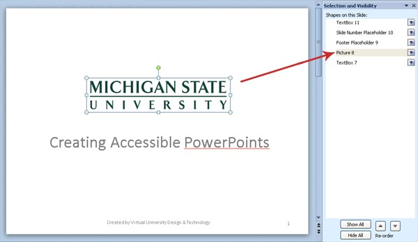 "Screenshot of the ""Selection and Visibility"" panel. The organization is incorrect, with the Michigan State University title being read as the second item rather than first."