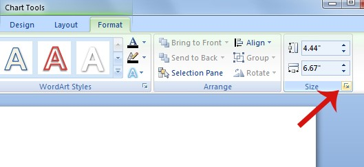 Screenshot of Format ribbon is shown. The expansion icon is highlighted on the very bottom right corner of these tools.