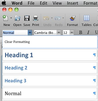 The heading and styles drop-down menu, accessed in the upper-left-hand corner of the Mac version of Word.