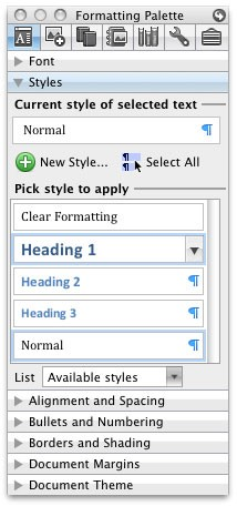 The styles for Headings menu in the formatting palette.