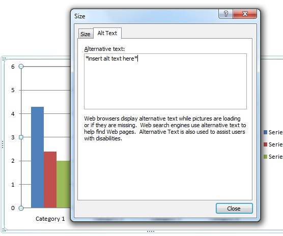 Screenshot of Alt Text entry field for a chart or graph. Alternate text is entered into the Description box.