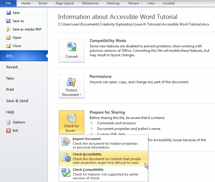 Screenshot of File menu. Info tab selected on the menu options on the left. Check for issues is the third icon and its drop-down menu is shown. Check Accessibility is the second item on this list.