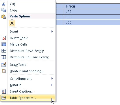 Screenshot of a tables right-click menu. Table properties is highlighted as the last item in the menu.