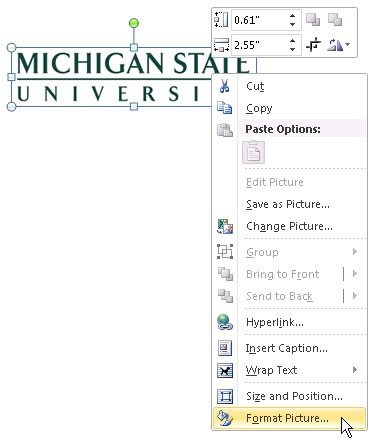 Screenshot of the menu when right-clicking on the MSU Wordmark in Windows Word 2010. Format Picture is highlighted as the last option in the menu.