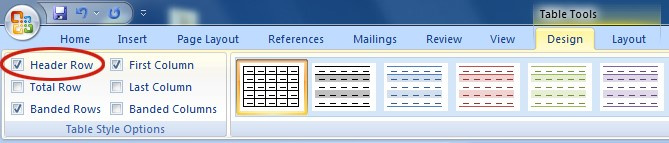 Screenshot of Design ribbon of Word 2007. Header Row is located at the top left of the ribbon content.